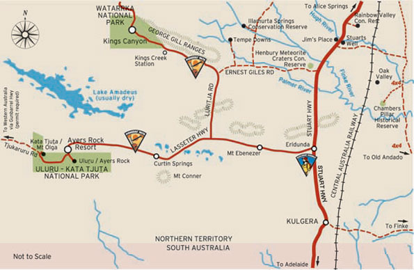 Photographs Courtesy Of  NTTC - Northern Territory Tourism Commission Macdonnell Ranges Map